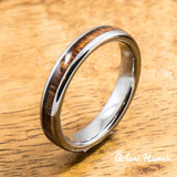 Wedding Band Set of Tungsten Rings with Hawaiian Koa Wood Inlay (4mm & 6mm width, Barrel Style) - Aolani Hawaii - 3