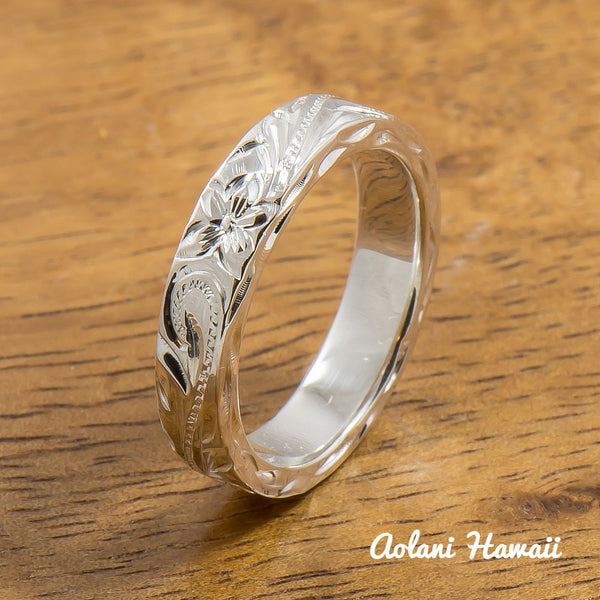 Silver Wedding Ring Set of Traditional Hawaiian Hand Engraved Sterling Silver Flat Rings (4mm & 6mm width) - Aolani Hawaii - 3