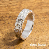Silver Wedding Ring Set of Traditional Hawaiian Hand Engraved Sterling Silver Flat Rings (4mm & 6mm width) - Aolani Hawaii - 2