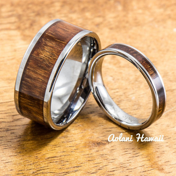 Wedding Band Set of Tungsten Rings with Hawaiian Koa Wood Inlay (4mm & 10mm width, Flat Style) - Aolani Hawaii - 1