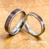 Wedding Band Set of Tungsten Rings with Hawaiian Koa Wood Inlay (4mm & 6mm width, Flat Style) - Aolani Hawaii - 1