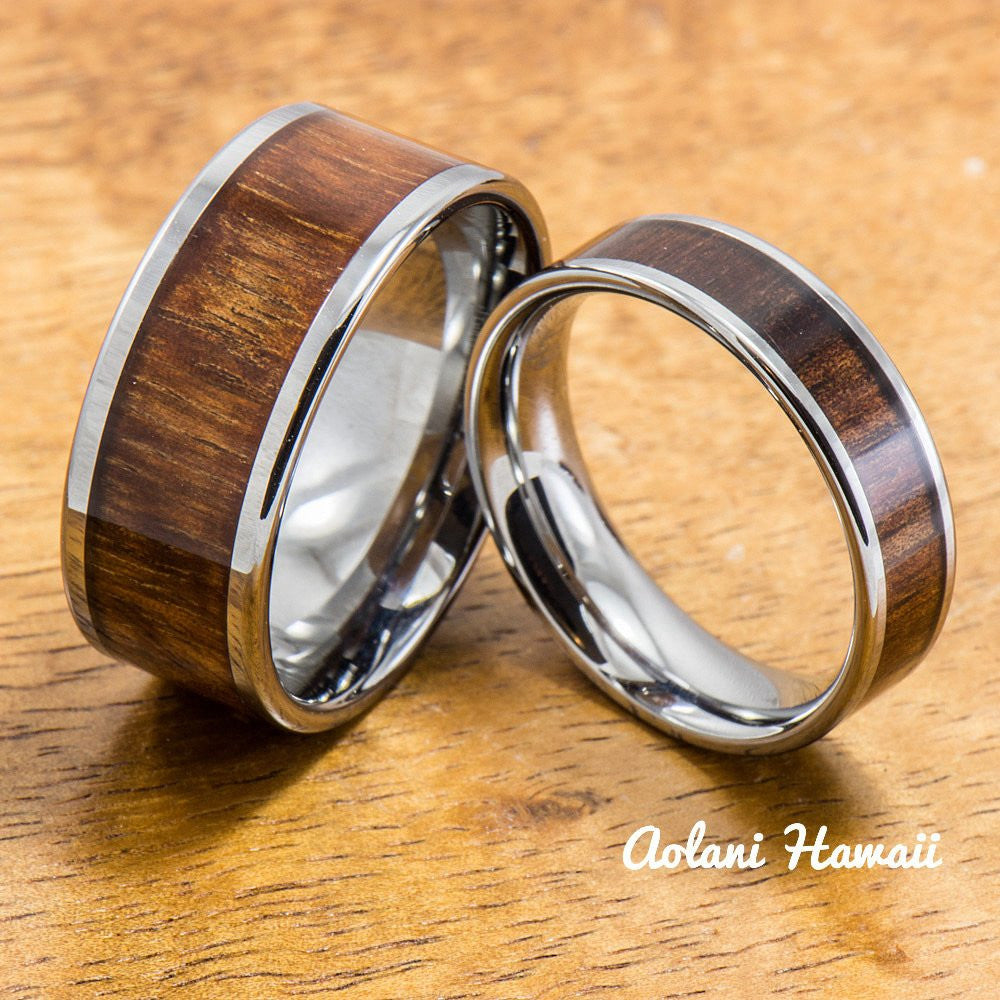 Wedding Band Set of Tungsten Rings with Hawaiian Koa Wood Inlay (6mm & 10mm width, Flat Style) - Aolani Hawaii - 1