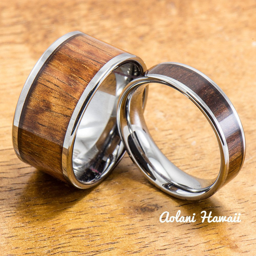 Wedding Band Set of Tungsten Rings with Hawaiian Koa Wood Inlay (6mm & 12mm width, Flat Style) - Aolani Hawaii - 1