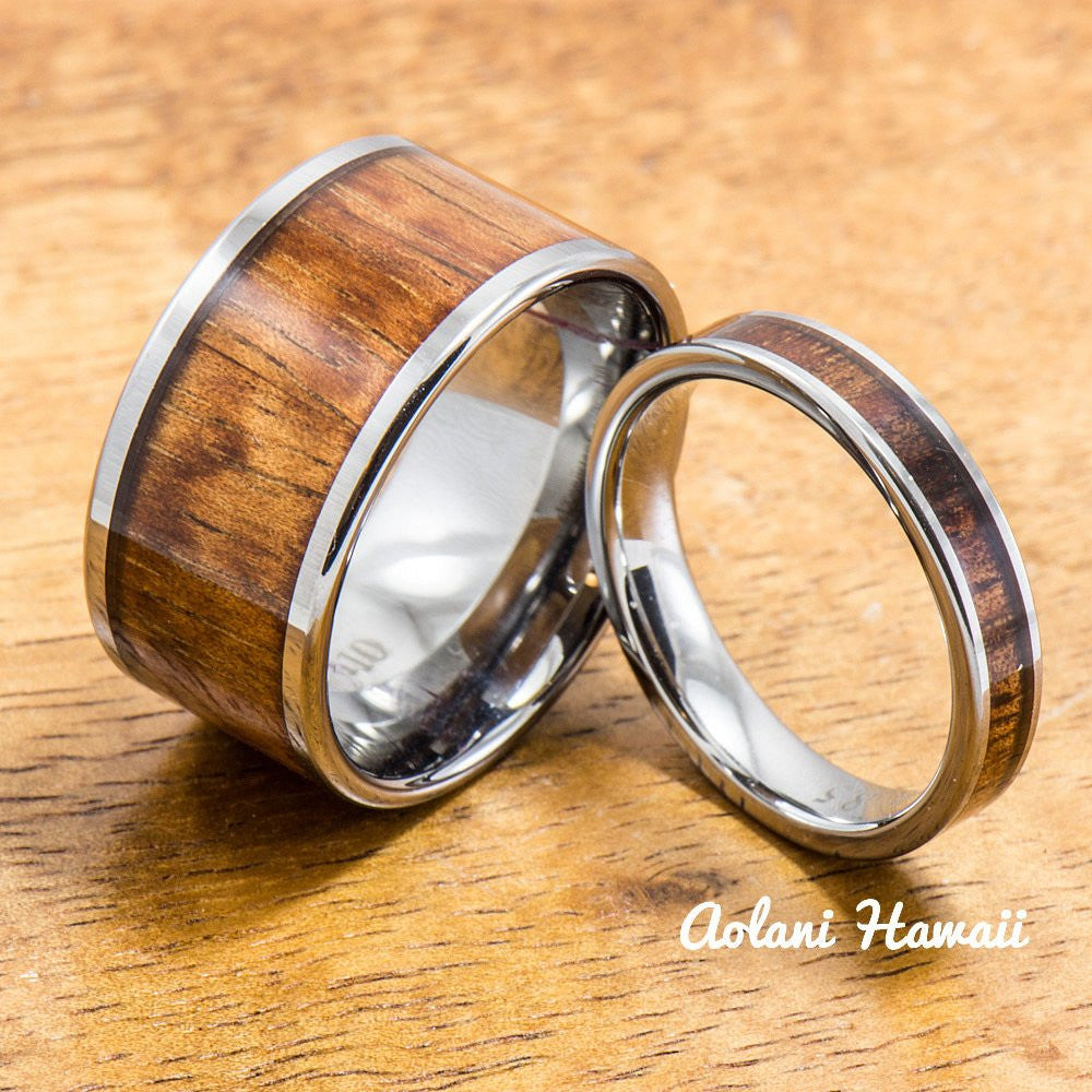 Wedding Band Set of Tungsten Rings with Hawaiian Koa Wood Inlay (4mm & 12mm width, Flat Style) - Aolani Hawaii - 1