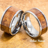 Wedding Band Set of Tungsten Rings with Hawaiian Koa Wood Inlay (10mm & 12mm width, Flat Style) - Aolani Hawaii - 1