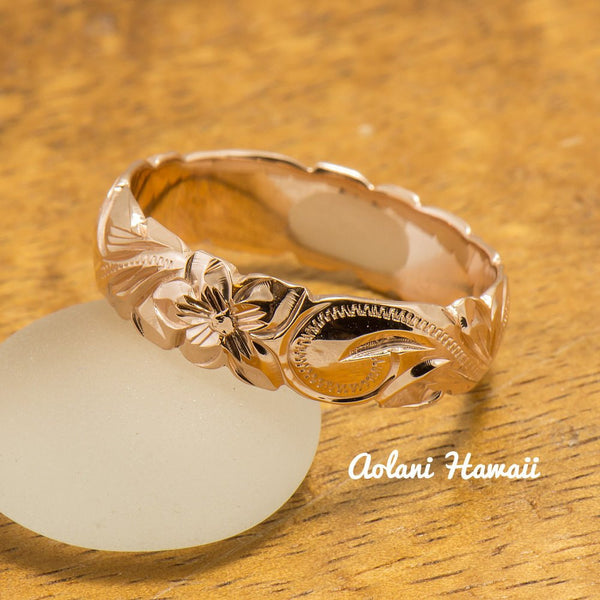 Gold wedding Ring Set of Traditional Hawaiian Hand Engraved 14k Pink Gold Barrel Rings (4mm & 6mm width) - Aolani Hawaii - 4