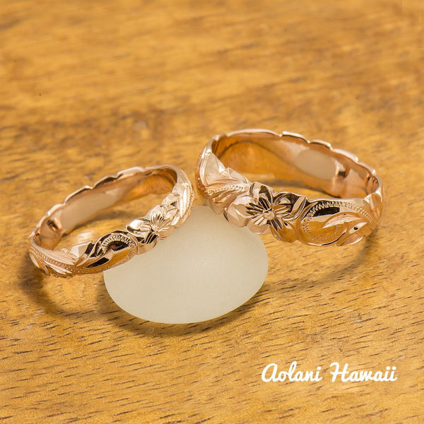 Gold wedding Ring Set of Traditional Hawaiian Hand Engraved 14k Pink Gold Barrel Rings (4mm & 6mm width) - Aolani Hawaii - 2