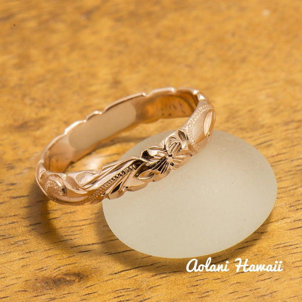 Gold wedding Ring Set of Traditional Hawaiian Hand Engraved 14k Pink Gold Barrel Rings (4mm & 6mm width) - Aolani Hawaii - 5