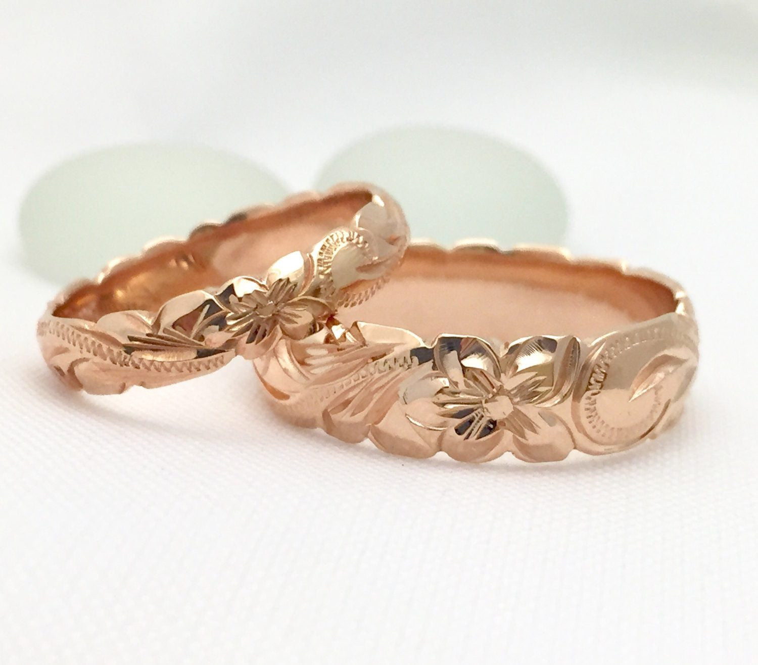 Gold wedding Ring Set of Traditional Hawaiian Hand Engraved 14k Pink Gold Barrel Rings (4mm & 6mm width) - Aolani Hawaii - 1