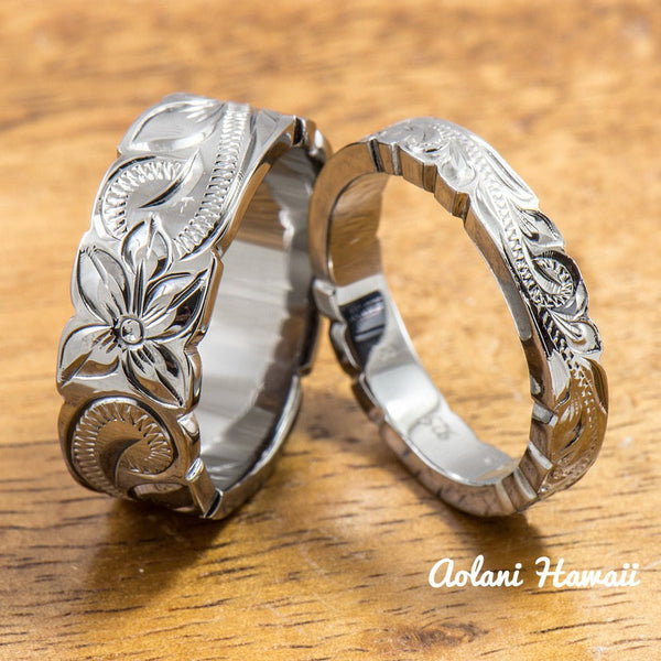 Set of Traditional Hawaiian Hand Engraved Sterling Silver Ring With Black Rhodium Coating(4mm & 8mm width, Flat Style) - Aolani Hawaii - 1