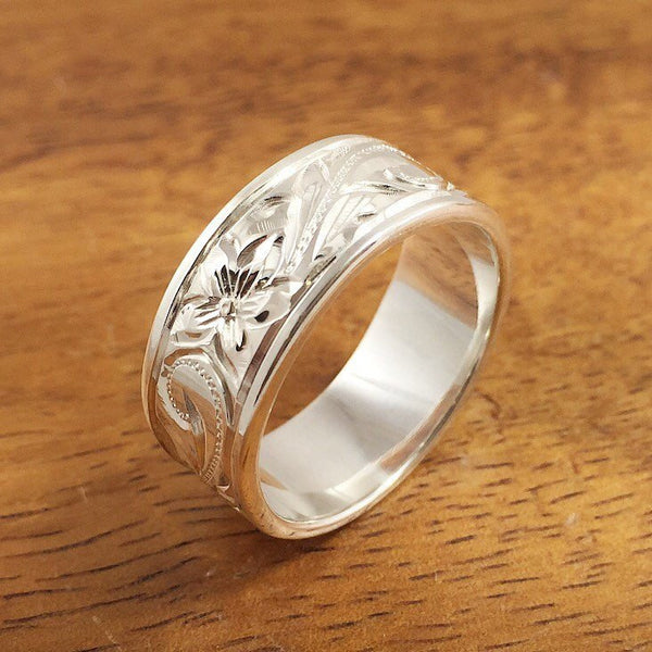 Silver Wedding Ring Set of Traditional Hawaiian Hand Engraved Sterling Silver Flat Rings (8mm & 6mm width) - Aolani Hawaii - 2