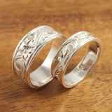 Silver Wedding Ring Set of Traditional Hawaiian Hand Engraved Sterling Silver Flat Rings (8mm & 6mm width) - Aolani Hawaii - 1