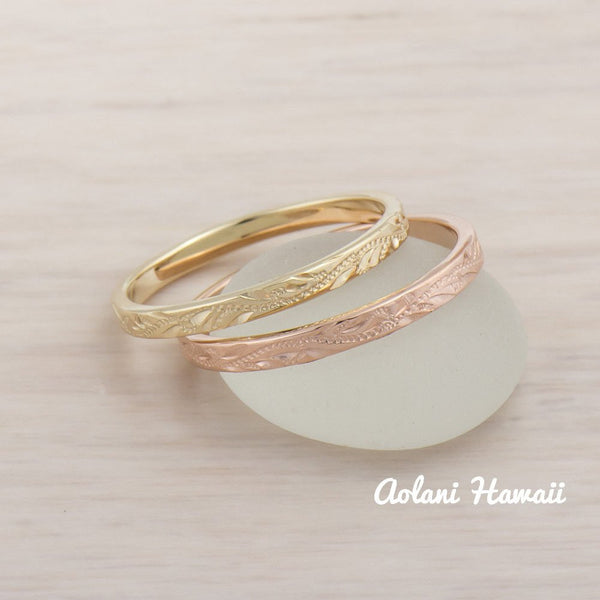 14k Gold Hand Engraved Wedding Rings (2mm width, Flat style) - Aolani Hawaii - 2