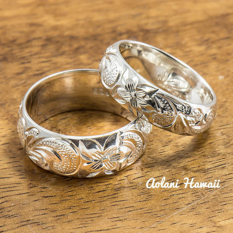 Silver Wedding Ring Set Of Traditional Hawaiian Hand Engraved Sterling Rings 8mm 6mm