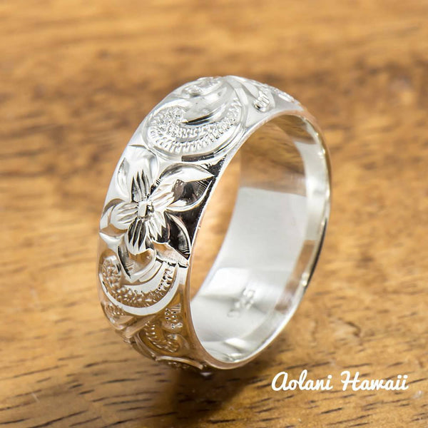 Silver Wedding Ring Set of Traditional Hawaiian Hand Engraved Sterling Silver Rings (8mm & 6mm width Barrel Style) - Aolani Hawaii - 2