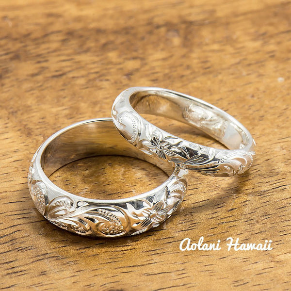 Set of Traditional Hawaiian Hand Engraved Sterling Silver Barrel Rings (4mm & 6mm width) - Aolani Hawaii - 1