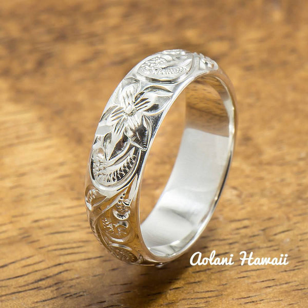 Silver Wedding Ring Set of Traditional Hawaiian Hand Engraved Sterling Silver Rings (8mm & 6mm width Barrel Style) - Aolani Hawaii - 3