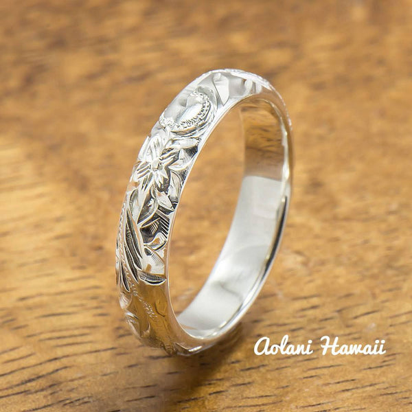 Sterling Silver Ring Set, Set of Traditional Hawaiian Hand Engraved Sterling Silver Barrel Rings (4mm & 8mm width) - Aolani Hawaii - 3