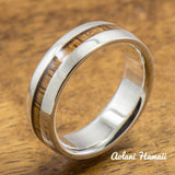 Sterling Silver Wedding Band Set with Koa Wood Inlay (6mm - 8mm Width Barrel Style) - Aolani Hawaii - 3
