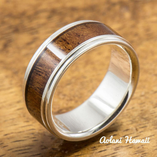Sterling Silver Wedding Band Set with Koa Wood Inlay (6mm - 8mm Width Barrel Style) - Aolani Hawaii - 2