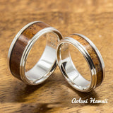 Sterling Silver Wedding Band Set with Koa Wood Inlay (6mm - 8mm Width Barrel Style) - Aolani Hawaii - 1