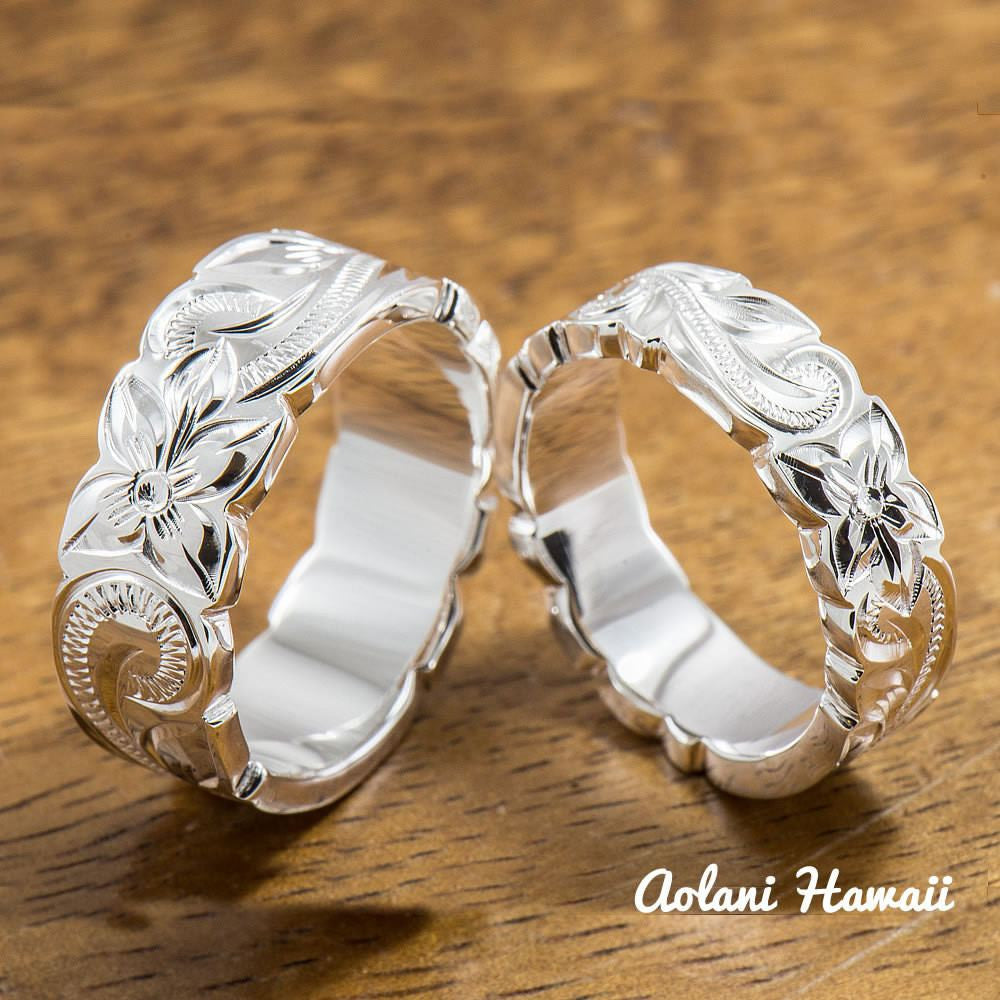 Set of Traditional Hawaiian Hand Engraved Sterling Silver Ring (6mm & 8mm width, Flat Style) - Aolani Hawaii - 1