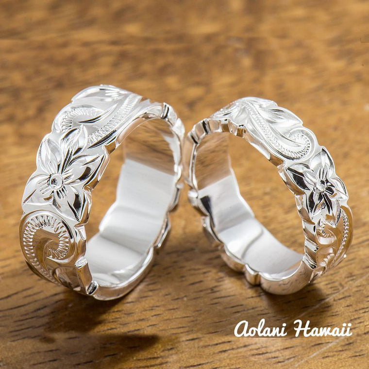 Set of Traditional Hawaiian Hand Engraved Sterling Silver Ring (6mm & 8mm width, Flat Style)