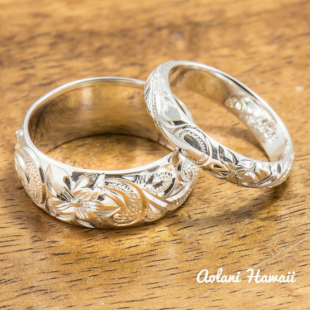 Sterling Silver Ring Set, Set of Traditional Hawaiian Hand Engraved Sterling Silver Barrel Rings (4mm & 8mm width) - Aolani Hawaii - 1