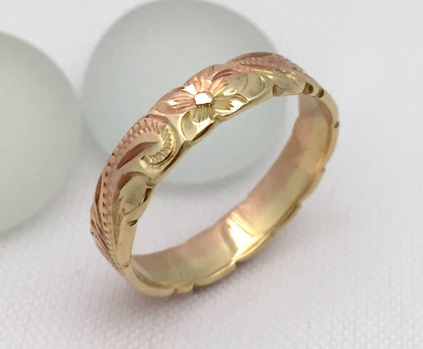 14K Gold Ring Traditional Hawaiian Hand Engraved (4mm Width, Flat Style) - Aolani Hawaii - 2