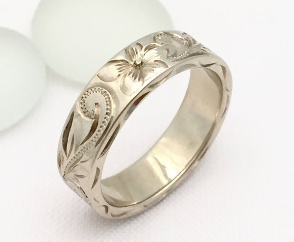14K Gold Traditional Hawaiian Hand Engraved Ring (6mm Width 2mm Thickness Flat ) - Aolani Hawaii - 2