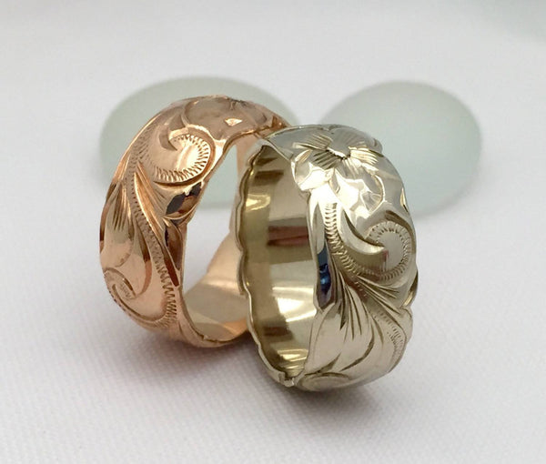 Hawaiian Ring - Hand Engraved 14k White & Pink Rose Gold Barrel Ring (8mm width, Barrel style) - Aolani Hawaii - 2