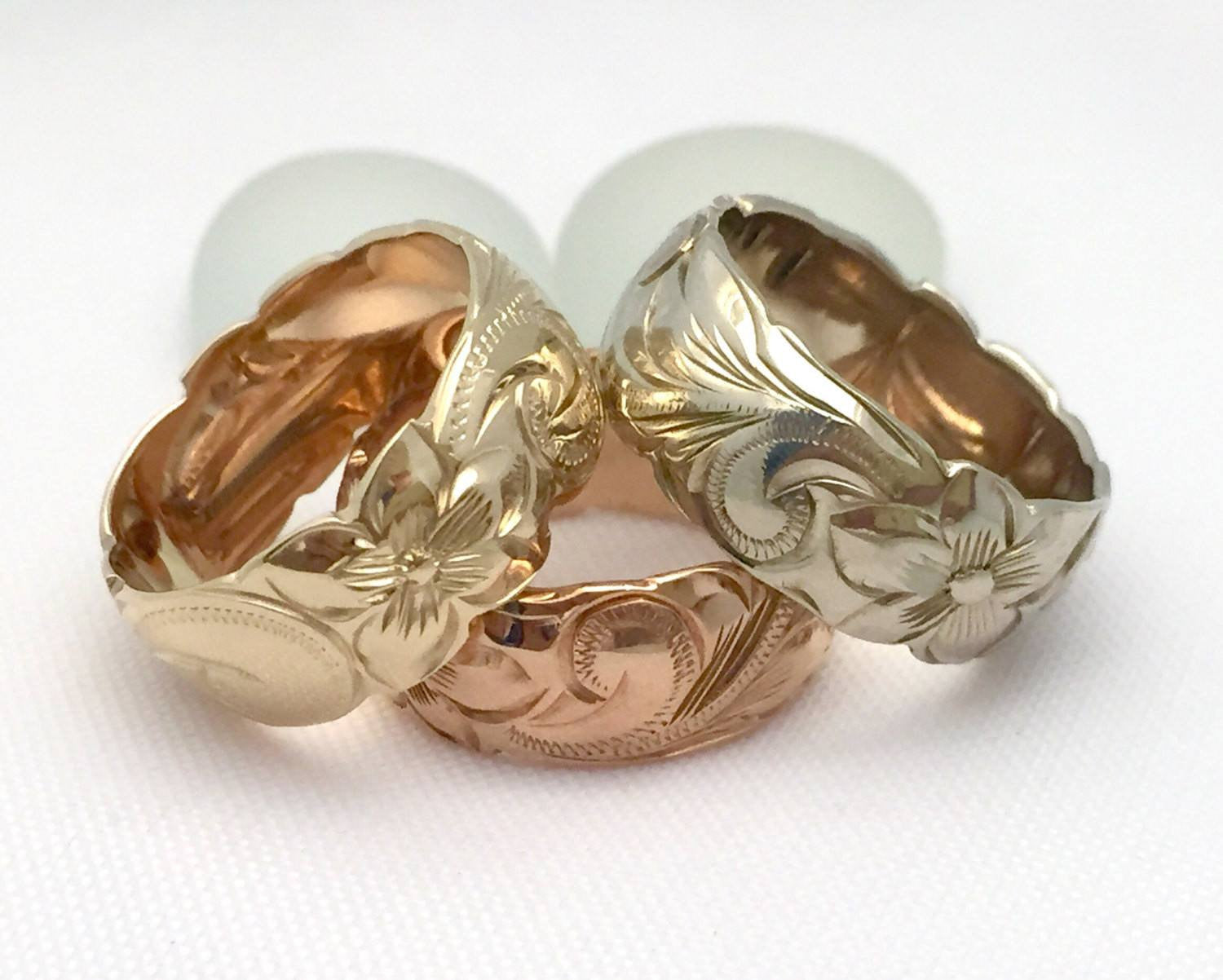 Hawaiian Ring - Hand Engraved 14k White & Pink Rose Gold Barrel Ring (8mm width, Barrel style) - Aolani Hawaii - 1
