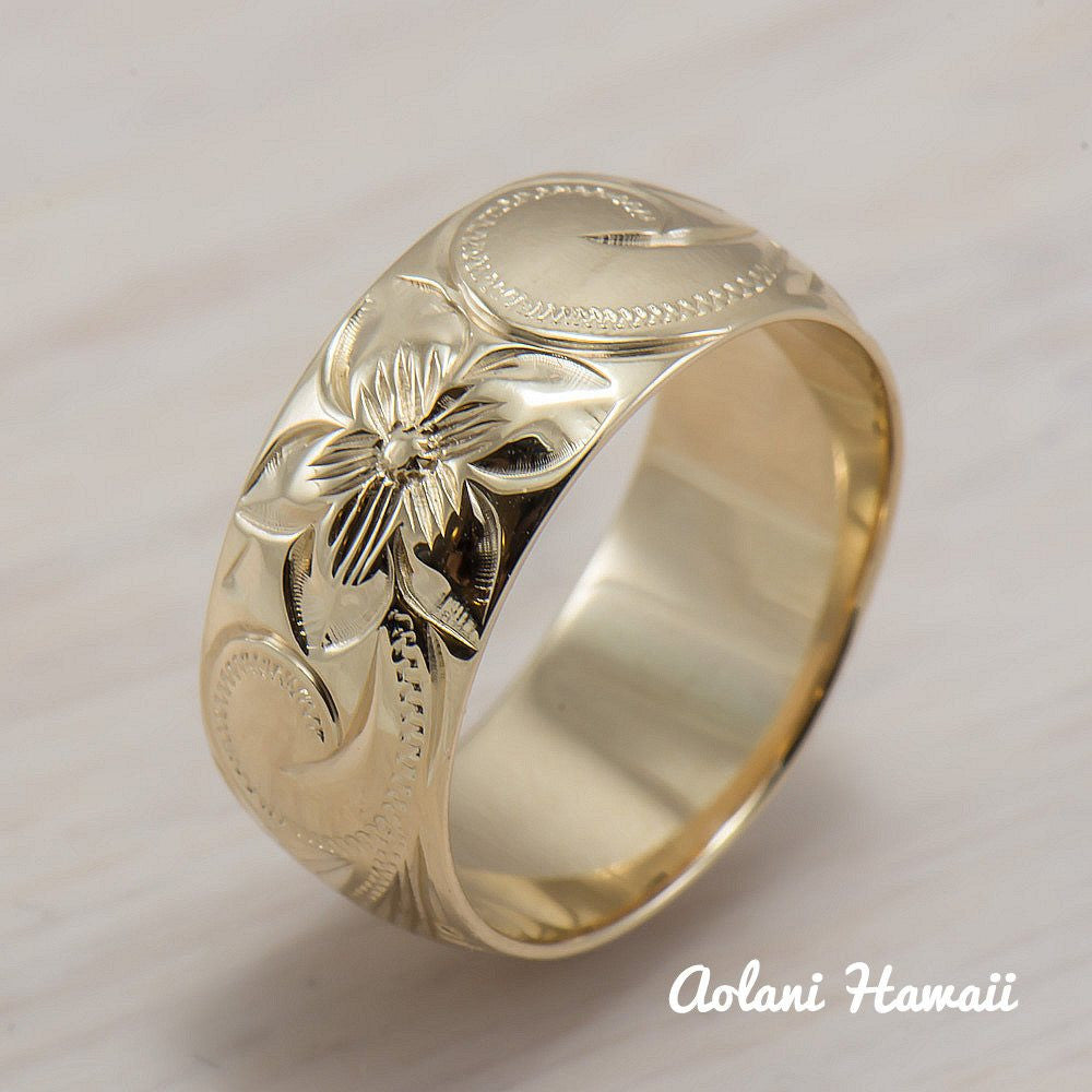14K Gold traditional Hawaiian Hand Engraved Ring 8mm Width Barrel - Aolani Hawaii - 1