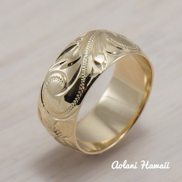 14K Gold traditional Hawaiian Hand Engraved Ring 8mm Width Barrel - Aolani Hawaii - 2