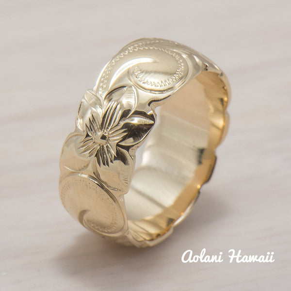 Hawaiian Ring - Hand Engraved 14k White & Pink Rose Gold Barrel Ring (8mm width, Barrel style) - Aolani Hawaii - 3
