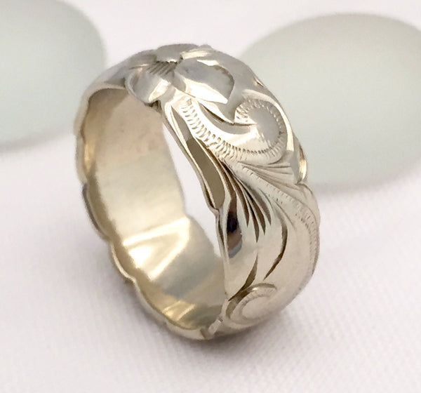 Hawaiian Ring - Hand Engraved 14k White & Pink Rose Gold Barrel Ring (8mm width, Barrel style) - Aolani Hawaii - 4