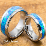 Wedding Band Set of Tungsten Rings with Opal Inlay (6mm & 8mm width, Barrel Style) - Aolani Hawaii - 1