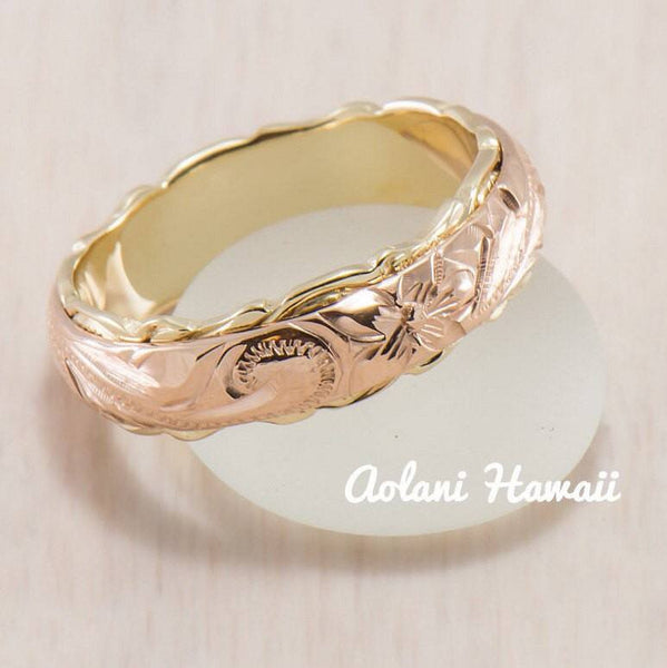 Traditional Hawaiian Hand Engraved 14k Two Tone Gold Ring (Barrel style) - Aolani Hawaii - 1