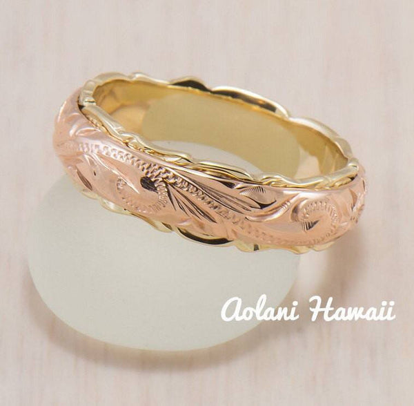 Traditional Hawaiian Hand Engraved 14k Two Tone Gold Ring (Barrel style) - Aolani Hawaii - 2
