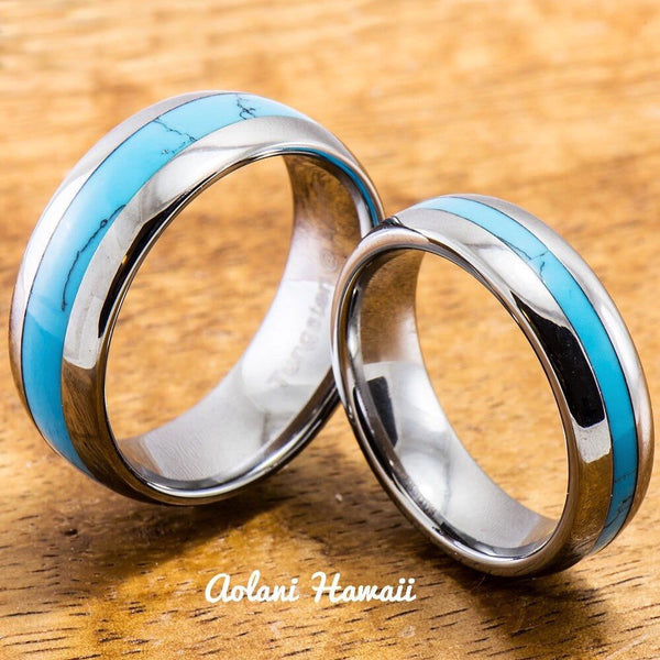 Wedding Band Set of Tungsten Rings with Turquoise Inlay (6mm & 8mm width, Barrel Style) - Aolani Hawaii - 1