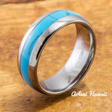 Wedding Band Set of Tungsten Rings with Turquoise Inlay (6mm & 8mm width, Barrel Style) - Aolani Hawaii - 2