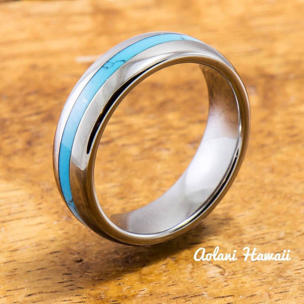 Wedding Band Set of Tungsten Rings with Turquoise Inlay (6mm & 8mm width, Barrel Style) - Aolani Hawaii - 3