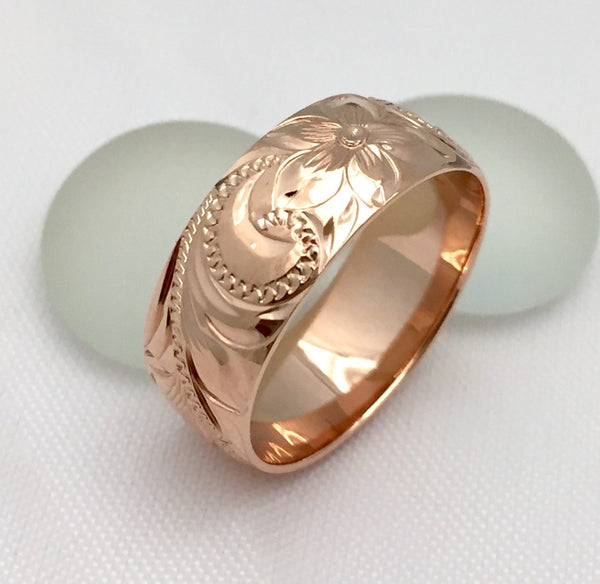 14K Gold traditional Hawaiian Hand Engraved Ring 8mm Width Barrel - Aolani Hawaii - 4