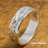 Silver Wedding Ring Set of Traditional Hawaiian Hand Engraved Sterling Silver Flat Rings (8mm & 6mm width) - Aolani Hawaii - 3