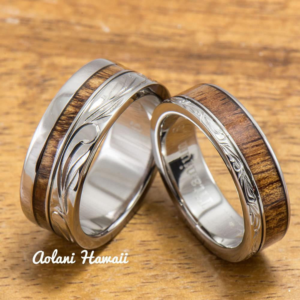 Titanium Wedding Ring Set with Hawaiian Koa Wood Inlay (6mm - 8mm Width, Flat Style) - Aolani Hawaii - 1