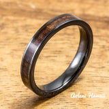 Wedding Band Set of Ceramic Rings with Hawaiian Koa Wood Inlay (4mm & 8mm width, Flat Style ) - Aolani Hawaii - 3