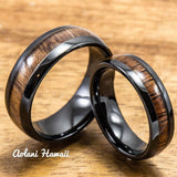 Wedding Ring Set - Black Ceramic Ring with Koa Wood Inlay (6mm & 8 mm width, Barrel Style) - Aolani Hawaii - 1