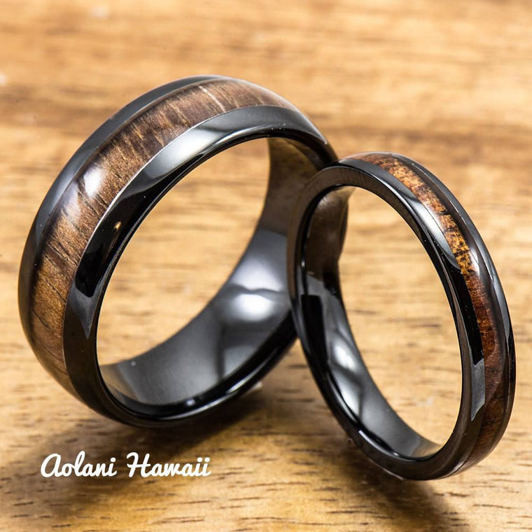 Black Wedding Ring Set - Black Ceramic Ring with Koa Wood Inlay (4mm & 8 mm width, Barrel Style)