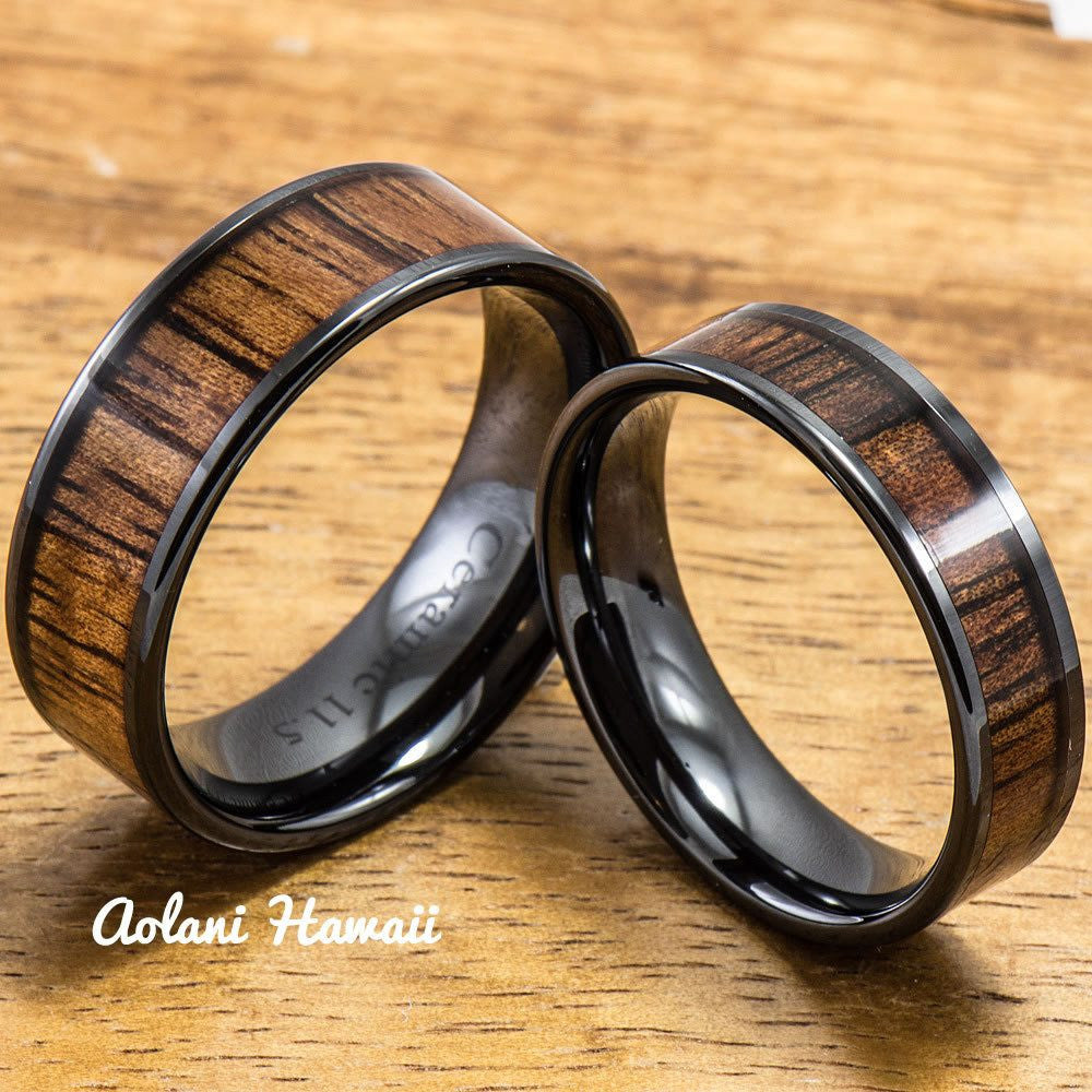 Wedding Band Set of Ceramic Rings with Hawaiian Koa Wood Inlay (6mm & 8mm width, Flat Style ) - Aolani Hawaii - 1