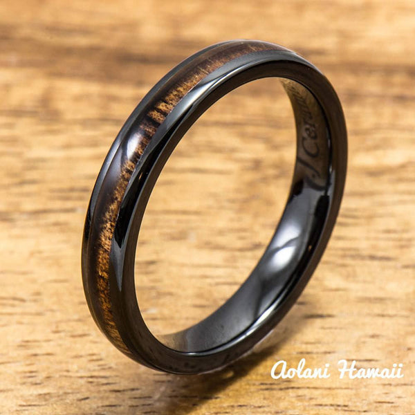 Black Wedding Ring Set - Black Ceramic Ring with Koa Wood Inlay (4mm & 8 mm width, Barrel Style) - Aolani Hawaii - 3